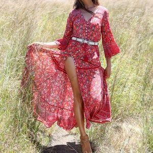 Bohemian Gypsy peasant button down flowing dress